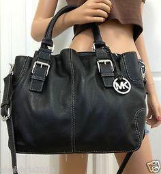 Michael Kors Brookville Large Leather Crossbody Tote Bag Purse Black Handbag