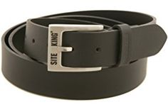 Mens Work Belts By SITE KING 100% Black Leather WORK CASUAL LEISURE