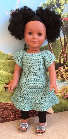 "This cute little dress fits 18"" dolls such as the American Girl doll. The dress is a quick crochet project and uses less than 3 ozs. of worsted weight yarn."