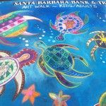 Sea turtles chalk drawing from I Madonnari festival. Great colors!