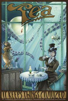 Tea: It Keeps Things Civilized (Girl Genius) Chai, Le Kraken, Books And Tea, Motif Art Deco, Tea Quotes, Cuppa Tea, Illustration, My Cup Of Tea, Dieselpunk