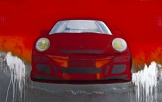 """Porsche GT3"" 2014 lacquer paint on polymer painting  by Rand Heidinger for the March 2014 Exhibition in conjunction with Porsche Winnipeg 660 Pembina Hwy."