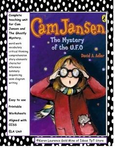 Complete study novel reading guide for Cam Jansen and the Mystery of the U.F.O. by David A. Adler.  Printable study guide, worksheets, graphic organizers and templates are easy to use and aligned with CCSS.  Includes:  writing, word work, vocabulary, comprehension, critical thinking, summary, story map, story elements, character traits, inferences.