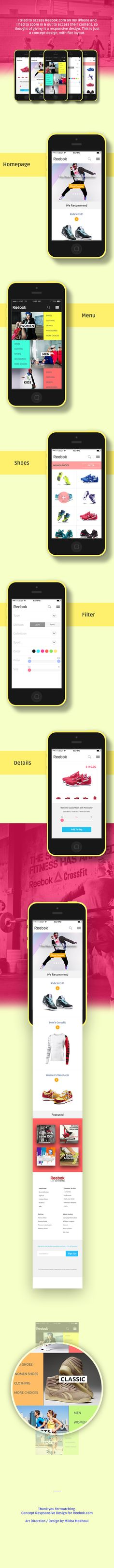 Reebok Mobile Site by Mikha Makhoul, via Behance
