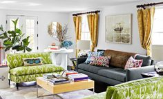 A bold ikat, Matisse by Ballard Designs, on matching settees from Mitchell Gold   Bob Williams energizes a small living room. Petrie sofa, Crate & Barrel. Rug, Pier 1 Imports. Walls in Benjamin Moore's Decorators White. Tour the rest of the home.   - HouseBeautiful.com