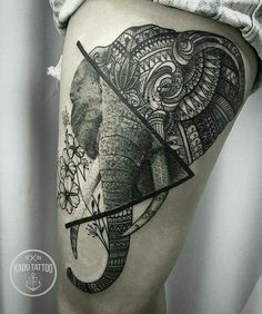 Elephant Tattoos - Tattoo Insider - Elephant Tattoo by Kadu Tattoo - Geometric Elephant Tattoo, Elephant Thigh Tattoo, Elephant Tattoo Design, Mandala Elephant Tattoo, Geometric Tattoo Leg, Realistic Elephant Tattoo, Half Mandala Tattoo, Elephant Design, Geometric Tattoos