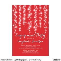 Modern Twinkle Lights Engagement Party Card