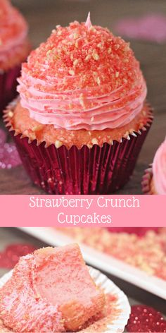 Strawberry cupcakes are kicked up a notch with delightfully fluffy strawberry icing and a crunchy topping. These nostalgic strawberry crunch cupcakes capture all the flavors of a strawberry shortcake ice cream bar. Strawberry Crunch Cake, Strawberry Shortcake Ice Cream, Strawberry Icing, Strawberry Recipes, Cupcake Recipes, Baking Recipes, Dessert Recipes, Mini Cakes, Cupcake Cakes
