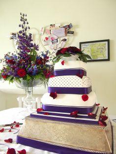 Purple & Deep Red Polka dot Wedding Cake | Flickr - Photo Sharing!