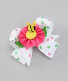 Take a look at this Pink Bee & Polka Dot Bow Clip Set by Picture Perfect Hair Bows on #zulily today!