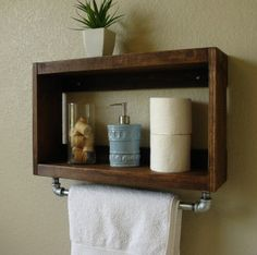 Bathroom Storage Ideas - The majority of us have small bathrooms where there's small area to put furniture pieces or make any huge makeovers. Save money and area with these DIY rustic bathroom storage ideas! Rustic Bathroom Shelves, Bathroom Storage Shelves, Rustic Shelves, Small Bathroom Wall Cabinet, Toilet Storage, Kitchen Shelves, Wood Shelves, Bad Wand, Ideas Baños