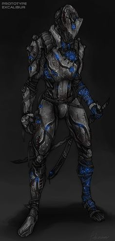 Prototype Warframes (Currently on Hiatus) - Fan Art - Warframe Forums Warframe Excalibur, Warframe Art, Character Concept, Character Art, Character Design, Alien Concept, Concept Art, Futuristic Robot, Sci Fi Characters