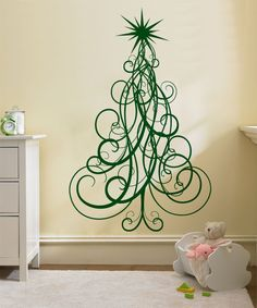 Medium Holiday Swirl Christmas Tree Decal for by ZestyGraphics, $38.00
