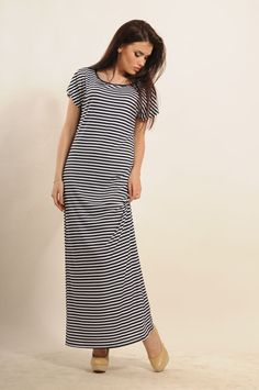 "stylish dark blue stripe Maxi dress ""Cruise""Ukrainian brand Ri Mari casual #Rimari #Maxi #Casual Summer Stripes, Striped Maxi Dresses, Evening Party, Short Sleeve Dresses, Shirt Dress, Stylish, Lady, Casual, Shirts"