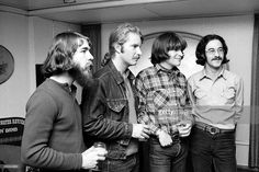 Creedence Clearwater Revival at a press conference for the band in Copenhagen, April 1970. L-R Doug Clifford, Tom Fogerty, John Fogerty, Stu Cook