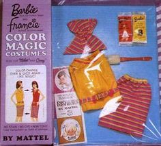 1967 Barbie Smart Switch #1776 ~ Color Magic outfit - Sleeveless yellow top with hot pink braid belt with gold buckle, hot pink, blue and yellow stripe skirt, matching head scarf, red handled sponge, color changer packet A or B.