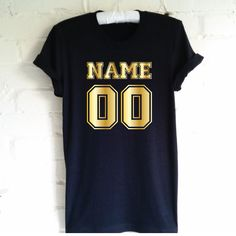 Name and Number Custom T-Shirt. Personalised with Name and Number Shirt. Personalized T-Shirt. Unisex T-Shirt. by SoPinkUK on Etsy