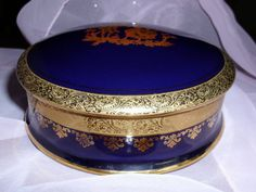 LIMOGES COBALT BLUE Large Trinket Box 5 1/2 by GraysideCottage