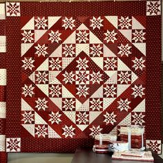 55 & life to go… another great quilt & giveaway from Redwork Gatherings. Quilting Projects, Sewing Projects, Black And White Quilts, Two Color Quilts, Medallion Quilt, Star Quilt Blocks, Primitive Gatherings, Lap Quilts, Quilted Table Runners