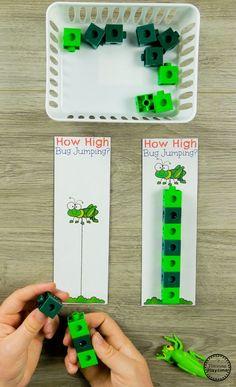 Preschool Bug Theme Activities - Measuring Jumps Math Game #preschool #bugs #bugtheme #bugactivities #preschoolactivities #preschoolmath