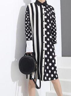 Brief Polka Dots Paneled T-Shirt Dress Fall Fashion Outfits, Casual Outfits, Fashion Dresses, Long Shirt Dress, Tee Dress, Simple Dresses, Lovely Dresses, Printed Kurti Designs, Fancy Dress Design