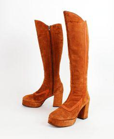 platform boots rust suede 1970s