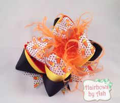 6 inch OTT candy corn halloween holiday hair bow with by HairbowsByAsh