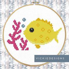 Sea Fish Yellow Seaweed Underwater Animals Cross Stitch Pattern PDF