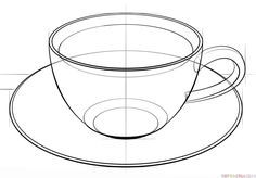 How to draw a cup of coffee step by step. Drawing tutorials for kids and beginners.