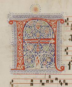 Le miniature dell'Antifonario G carta: 98v titolo: Iniziale F autore: Calligrafo fiorentino (bottega del Torelli?) tecnica: inchiostro e penna, tempera e pennello Il corpo della lettera è fesso da una decorazione 'a bianchi girari' che si ripete anche sul fondo. Alphabet Symbols, Calligraphy Alphabet, Medieval Manuscript, Medieval Art, Illuminated Letters, Illuminated Manuscript, Hand Drawn Type, Puzzle Books, Book Of Hours