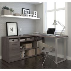 Modern L-shaped Desk with Integrated Storage in Bark Gray – Home office design layout Guest Room Office, Home Office Space, Home Office Desks, Home Office Furniture, Office Decor, Office Items, Small Office, Furniture Ideas, Office Chairs