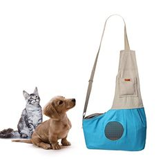 MEWTOGO Pet Sling Carrier with Adjustable Strap for Small Dogs and Cats up to 9 lb-Blue ** You can get more details by clicking on the image.
