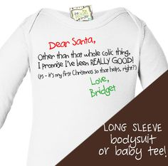 babys first christmas funny LONG SLEEVE onesie for by zoeysattic, $18.00