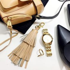 """Tan Leather Tassel Keychain / Bag Charm Details: • Tan leather • 14k gold plated clasp • Hand crafted  • 7.5"""" L  04011623 Accessories Key & Card Holders"""