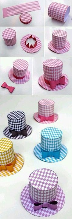 How to make a mini top hat! is part of Snowman crafts Printable Party hat pattern, party decorations, designs and templates! Cute Crafts, Diy And Crafts, Crafts For Kids, Arts And Crafts, Diy Paper, Paper Crafting, Diamond Party, Papier Diy, Crazy Hats