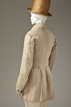 Man's Frock Coat, Europe, circa 1845, outerwear Cotton plain weave with supplementary warp-float patterning, via  LACMA Collections.
