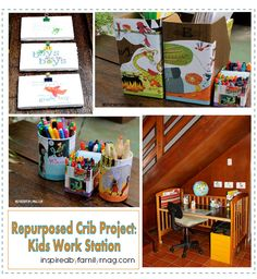 kids work station from recyled crib.