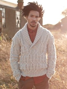 Knit this mens cable and texture sweater with shawl collar from Wintertide. A design by Martin Storey using British Sheep Breeds Chunky Undyed, a yarn blended from six classic British sheep breeds and comprising 100% British wool. This knitting pattern is suitable for the more experienced knitter.