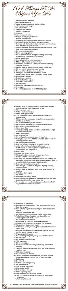 101 things to do before you die  by celes (http://personalexcellence.co/blog/bucket-list-manifesto/)