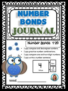 This student journal includes 36 pages focused on number bonds using numbers 1-20. I used both K and 1st grade standards to create the pages.  It uses part/part/whole, base-ten blocks, ten frames and more. (includes cover and ending page making 38 total pages) PRINT and STAPLE Students can use this journal to learn or for reviewing number bonds.Number bonds are powerful tools for helping children learn to compose and decompose numbers and learn their number combinations, which is a key…