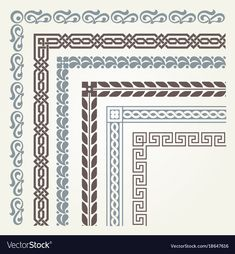 Find Set Decorative Seamless Ornamental Border Corner stock images in HD and millions of other royalty-free stock photos, illustrations and vectors in the Shutterstock collection. Thousands of new, high-quality pictures added every day. Islamic Art Pattern, Pattern Art, Pattern Design, Border Embroidery, Embroidery Patterns, Zentangle, Blackwork, Islamic Art Calligraphy, Ornaments Design