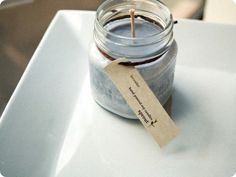"""Baby Food Jar Candle Favors... print tag with: """"This is a gift for you today, So when I'm born you'll light my way, And when that happy day is here, burn this candle and spread some good cheer."""""""