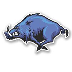 2 x 10cm Angry Wild Boar Hog Pig Vinyl Sticker Decal iPad Laptop Bike Blue #5488 in Art, Other Art | eBay