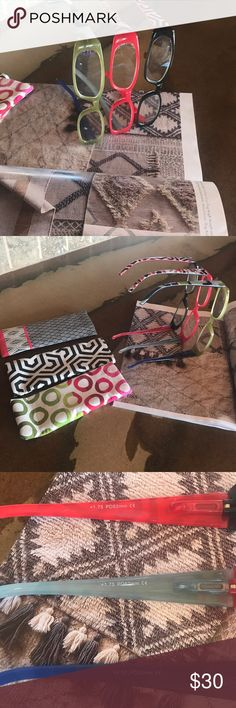 ❌Bundle of readers❌ Green red black geometric designs.  Brand new, tried on for looking👯♂️ can be sold separately.  2) 1.75...1) 2.50.  Pretty cute! see it Accessories Sunglasses