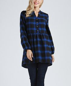 Another great find on #zulily! Black & Blue Plaid Button-Accent Babydoll Tunic - Plus Too #zulilyfinds