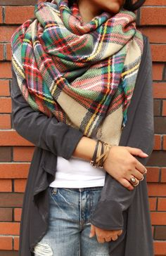 Only $19.99 Women's Fashion Soft Multicolor Plaid Raw Edge Scarf Warm Fall Outfit Style. Search more at CHICNICO!