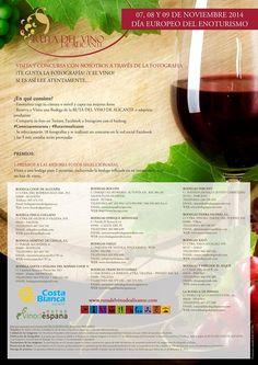 Los próximos días 7,8 y 9 de noviembre disfruta de nuestra Ruta del Vino y participa en nuestro concurso captando, a través de tu cámara, los mejores momentos. #Conectaconturuta #CostaBlanca #Rutavinoalicante. Más info: www.rutadelvinodealicante.com