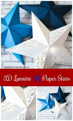 Paper Star Template: Paper Star Instructions and Free Template. If you're interested in a fun paper star lumieres tutorial and a free template, you've come to the right place! 3d Templates, Star Template, Templates Printable Free, Paper Craft Templates, 3d Paper Crafts, Diy Paper, Origami Paper, 3d Paper Projects, 3d Paper Star