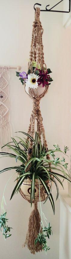 2 tier jute pot holder, Vintage double jute 70s style macrame plant hanger, NATURAL JUTE Hippie beaded plant holder, 70s Thick Bohemian jute Pot Hanger
