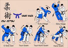 Judo et jiu jitsu techniques — Illustration